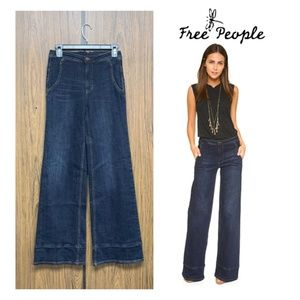 NWT Free People Bell Bottom Jeans High Waist Dark